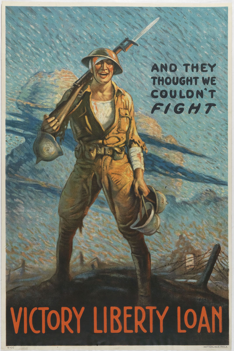 Vic Forsythe. And They Thought We Couldn't Fight (Philadelphia, [1919]). Color lithograph. Gift of Mrs. Freeman.