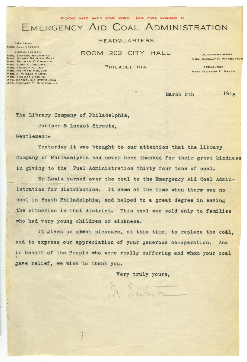 Letter from Mary Warburton, Emergency Aid Coal Administration, to Library Company of Philadelphia, March 5, 1918.