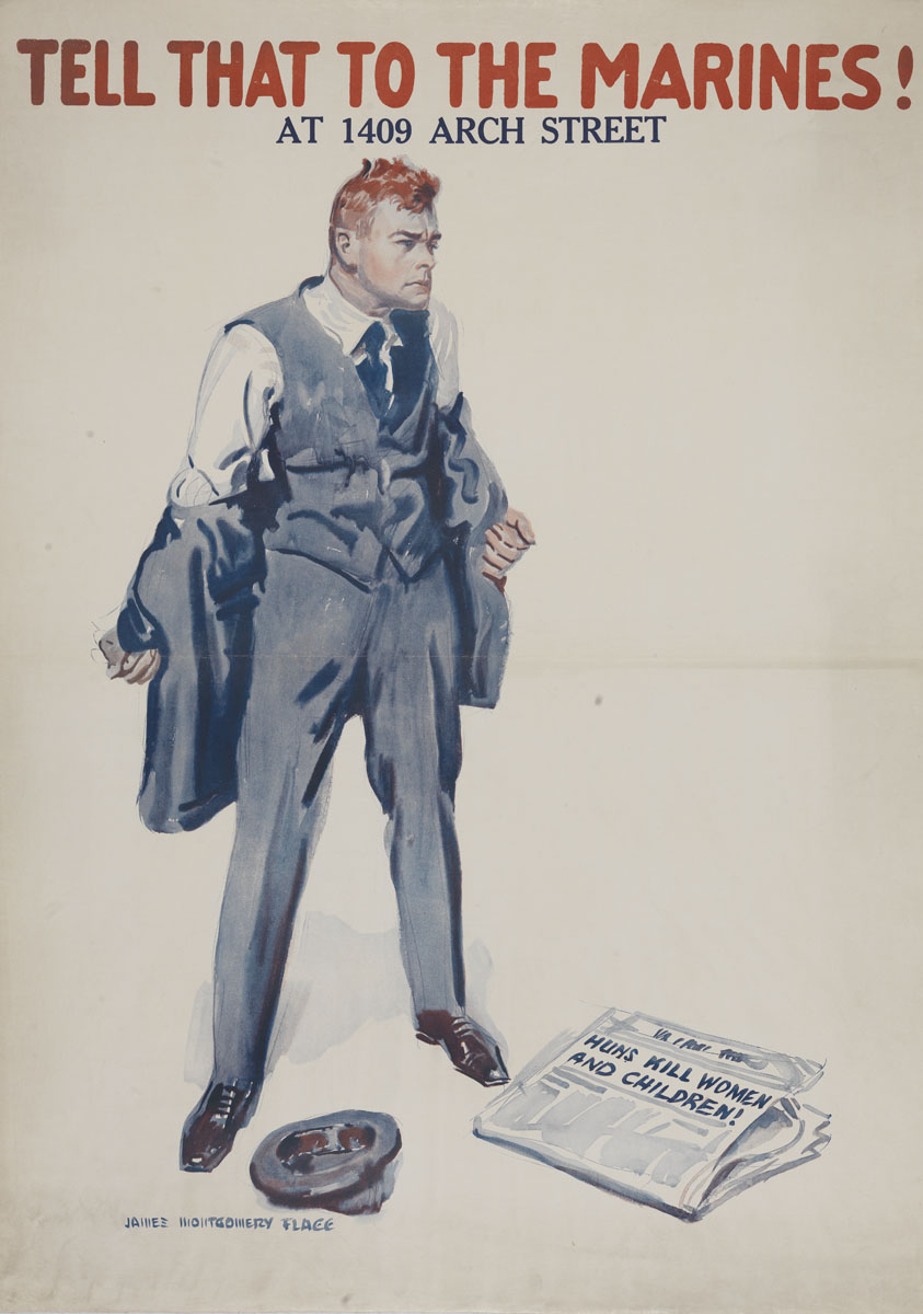 James Montgomery Flagg. Tell That to the Marines (United States, ca. 1918). Color lithograph.