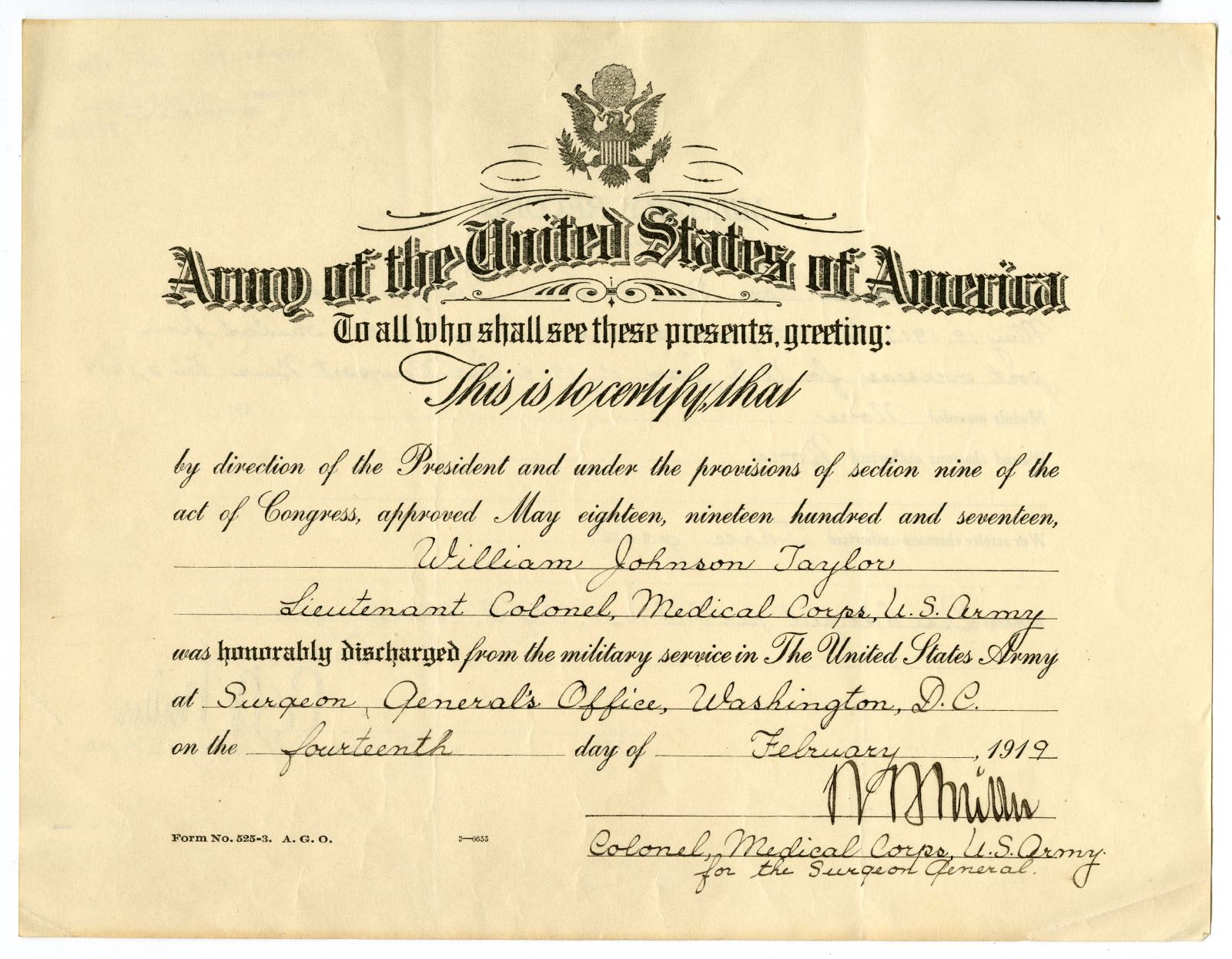United States Army, Military discharge paper for Dr. William J. Taylor (1919). Loan courtesy of the Historical Society of Pennsylvania.