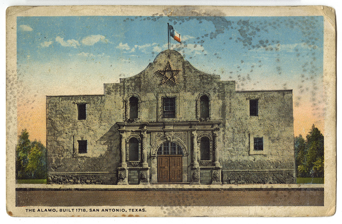 The Alamo (San Antonio, Texas, ca. 1918) Color halftone photomechanical postcard.