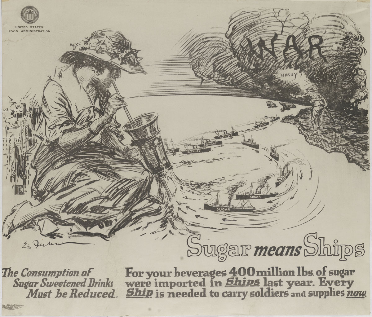 Ernest Fuhr, Sugar Means Ships (New York, 1917). Lithograph.