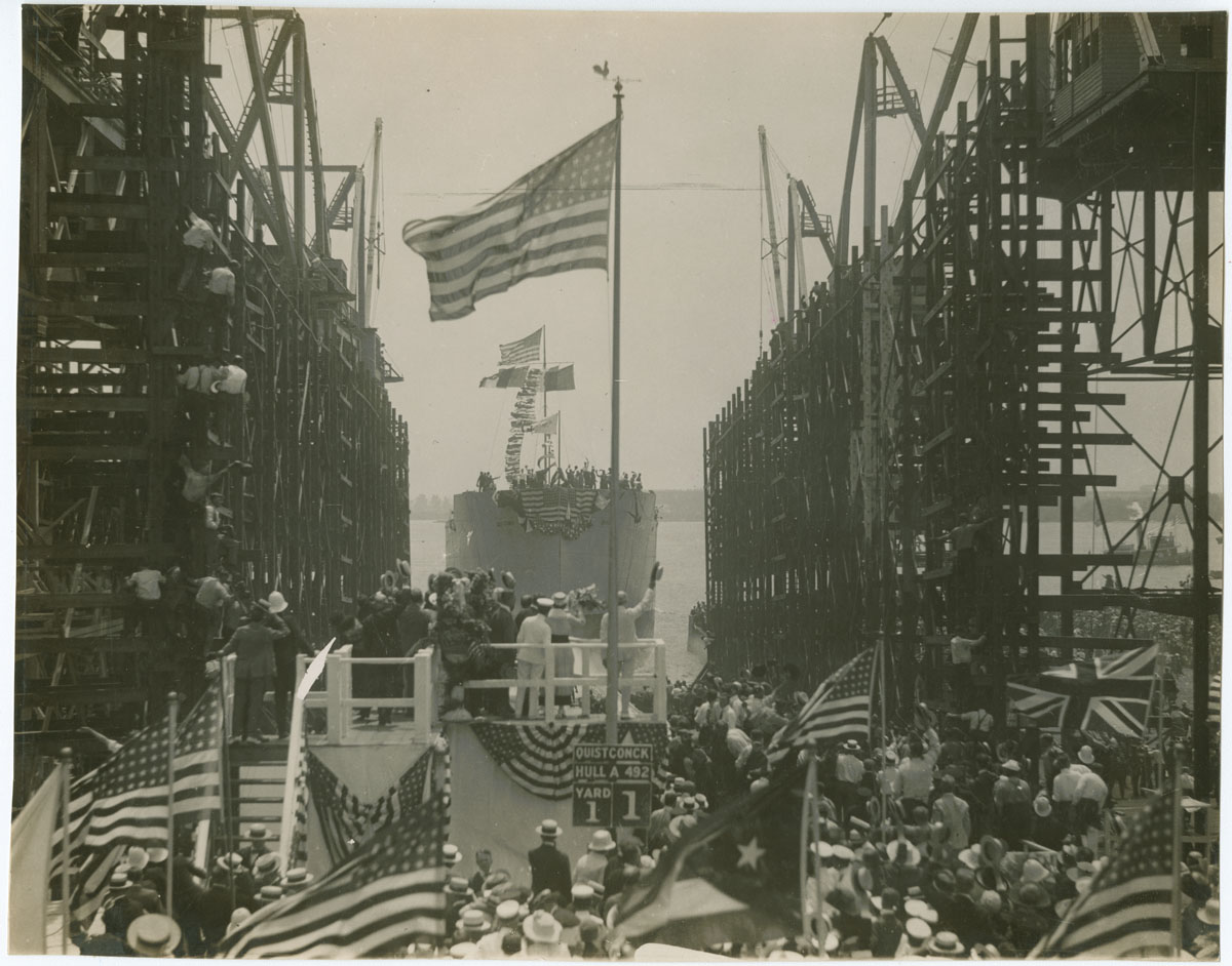 President and Mrs. Wilson launch first ship at Hog's Island, August 5, 1918. Gelatin silver photograph.