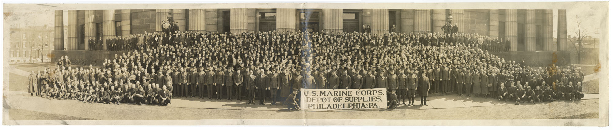 Workers at the U.S. Marine Corps Depot of Supplies, Philadelphia, ca. 1918. Gelatin silver photograph.
