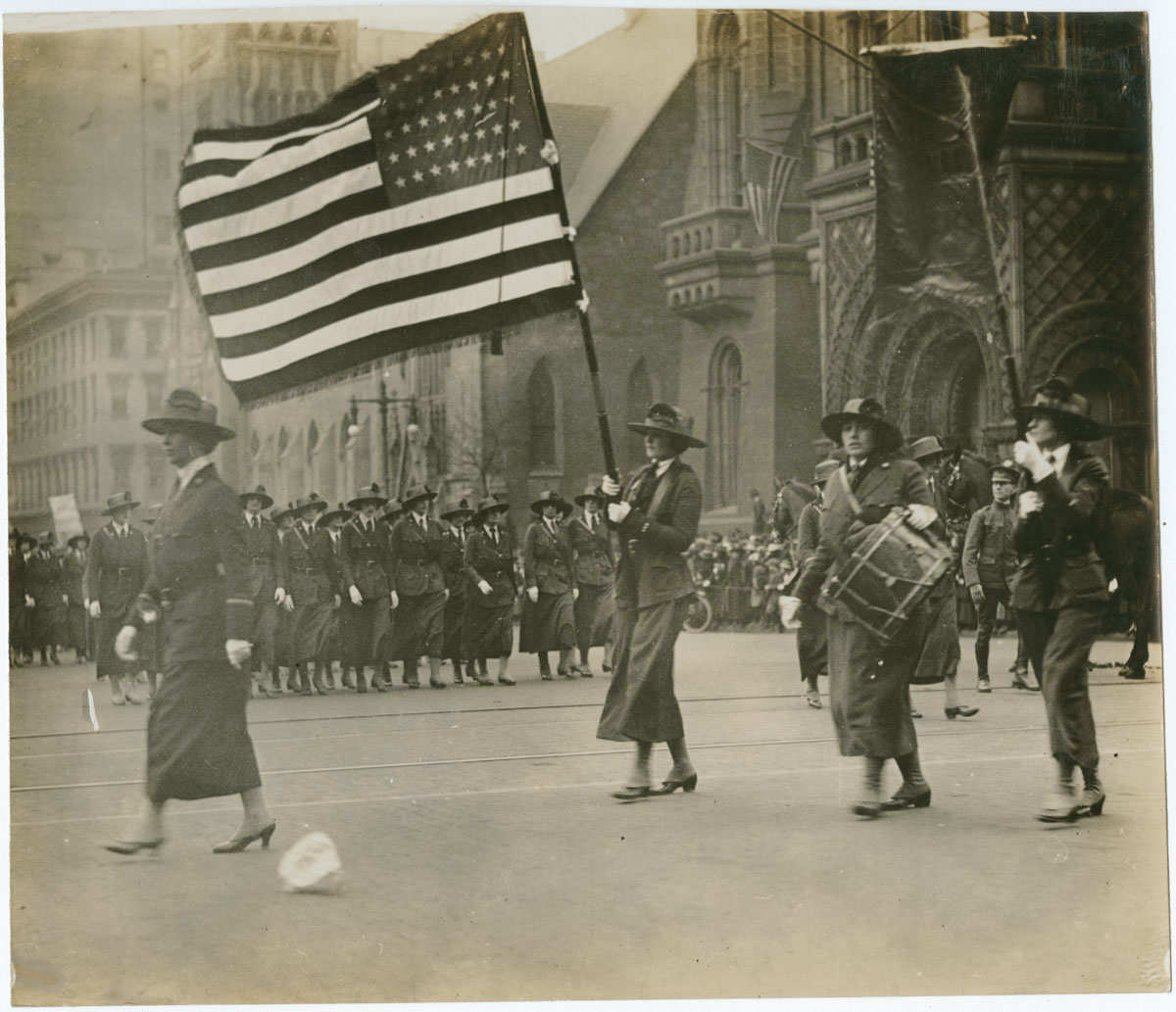 Officers of the Emergency Aid on Parade, ca. 1918. Gelatin silver photograph.