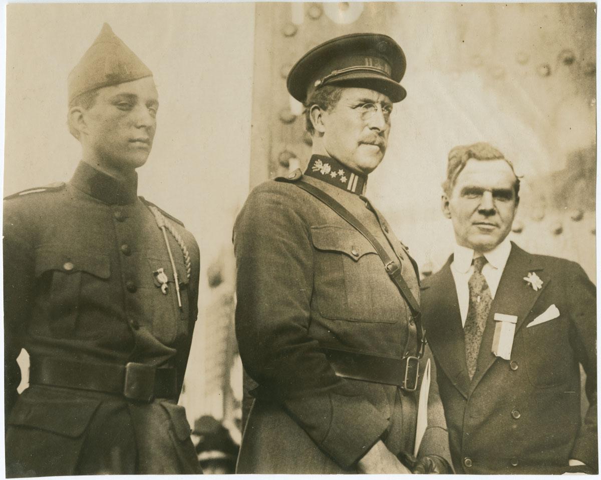 The Duke of Brabant, King Albert, and Matthew Brush at Hog Island (Philadelphia, 1919). Gelatin silver photograph.