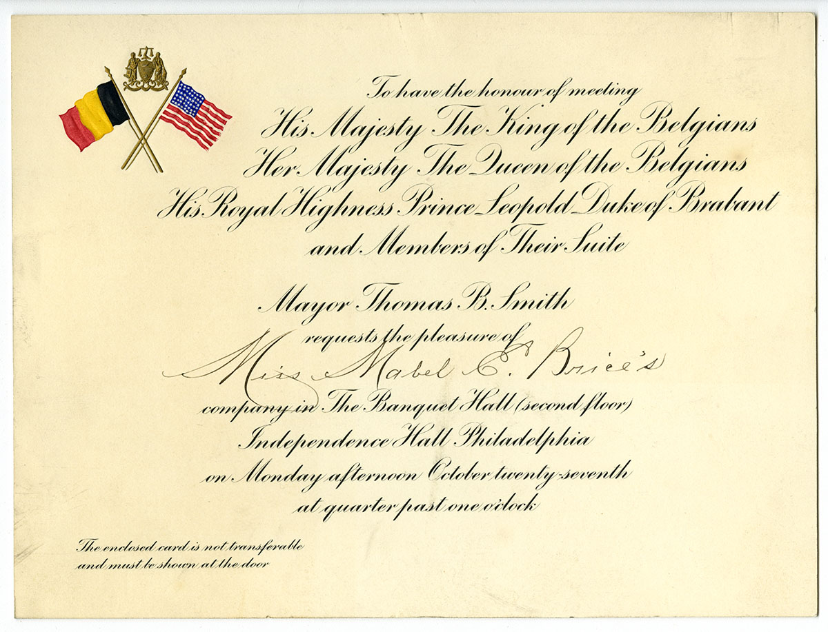 Invitation for Miss Mabel Brice to attend the ceremony at Independence Hall (Philadelphia, 1919). Loan courtesy of the Historical Society of Pennsylvania.