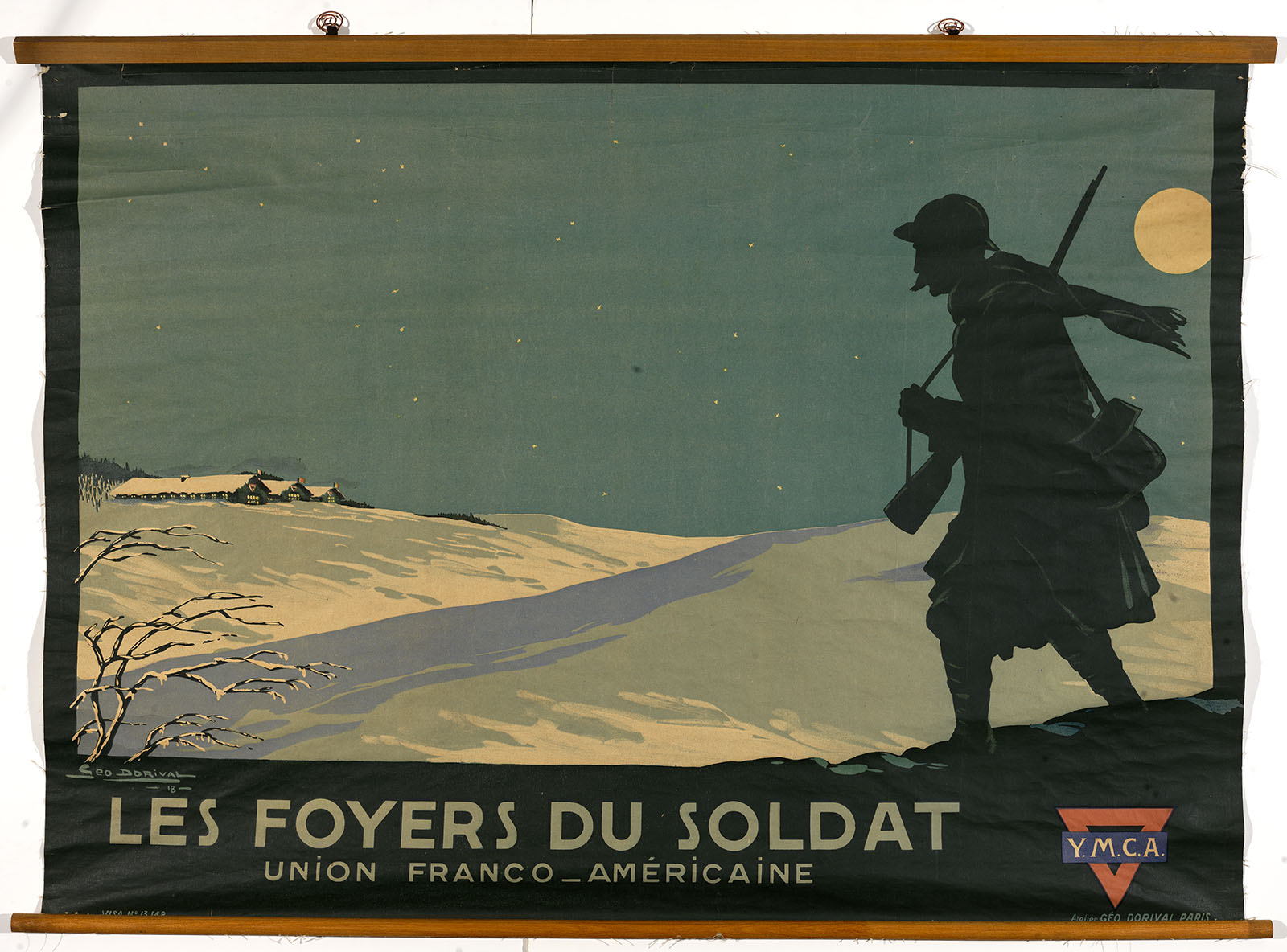 Géo. Dorival, Les Foyers du Soldat- Union Franco-Américaine. Y.M.C.A. (Paris, 1918). Color lithograph. Gift of Mrs. Franklin S. Edmonds.