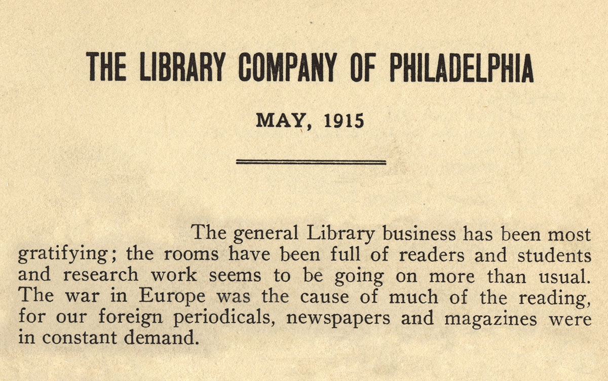 Library Company of Philadelphia, Annual Report, 1915-1916 (Philadelphia, 1916-1917).