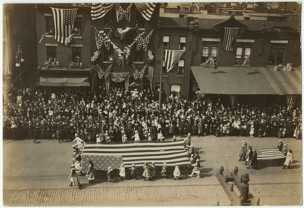 Liberty Loan Parade, 1200 block of Montgomery Avenue, April 6, 1918. Gelatin silver photograph.