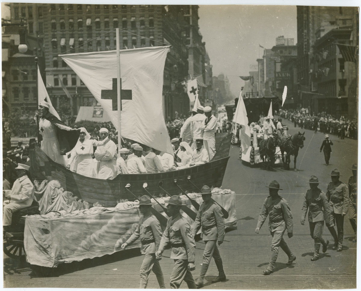 Floats in Red Cross Parade to Aid Big Drive for Membership, possibly June 22, 1917. Gelatin silver photograph.