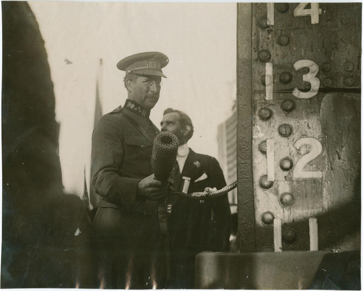 King Albert, Ready to Christen Ship at Hog Island (Phila-delphia, 1919). Gelatin silver photograph.