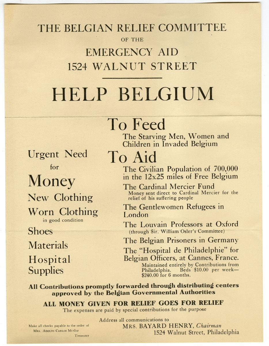 Belgium Relief Committee, Help Belgium (ca. 1917). Loan courtesy of the Historical Society of Pennsylvania.